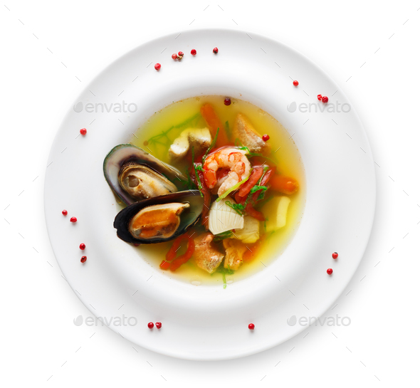 French seafood soup plate isolated on white - Stock Photo - Images