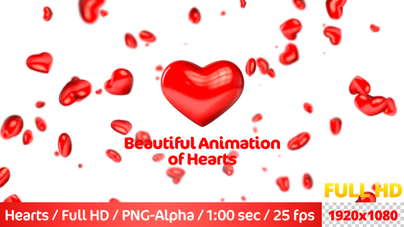 VideoHive Beautiful Flying 3D Hearts 21236913