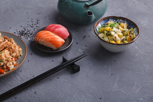 Asian food backgroung with copy space - Stock Photo - Images