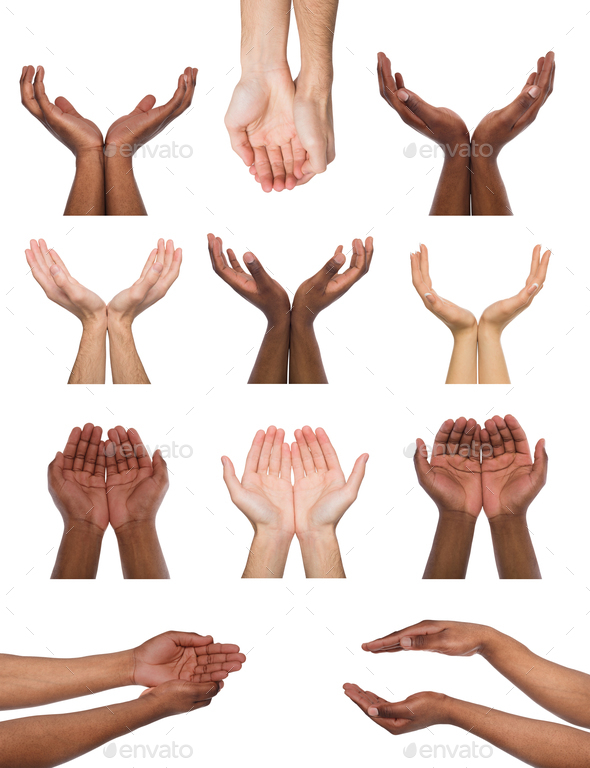 Set of multiethnic hands holding or offering something - Stock Photo - Images