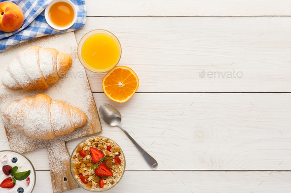 Traditional french breakfast background copy space Stock ...