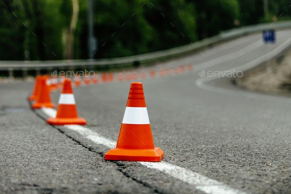 bright orange traffic cones - Stock Photo - Images