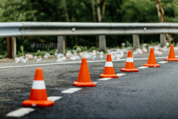 orange traffic cones - Stock Photo - Images