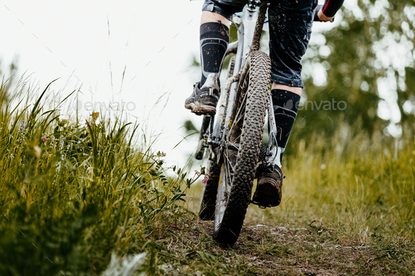 closeup mud mountain bike - Stock Photo - Images