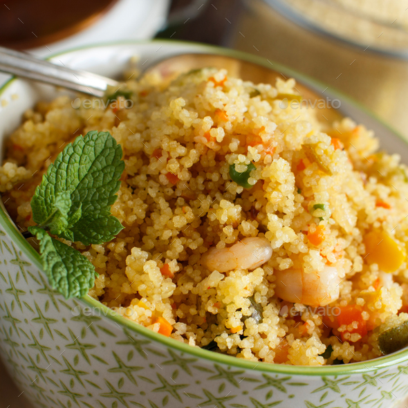 Couscous with shrimps and vegetables - Stock Photo - Images