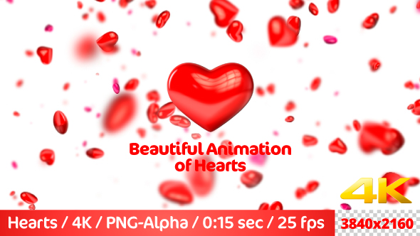 VideoHive Beautiful Flying 3D Hearts 21237144