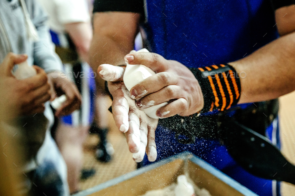 male athlete powerlifter hands - Stock Photo - Images