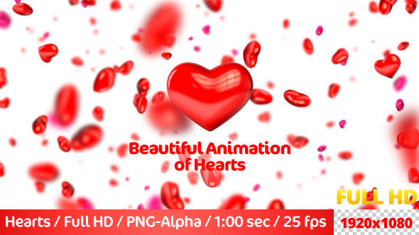 VideoHive Beautiful Flying 3D Hearts 21237169