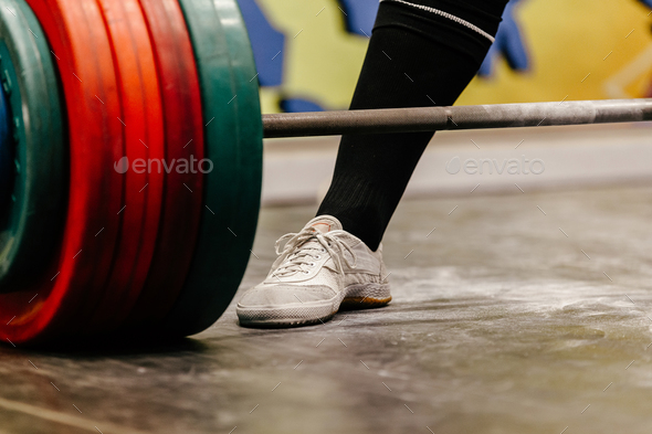 closeup leg male powerlifter - Stock Photo - Images