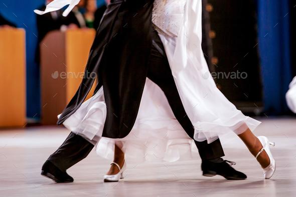 pair athletes dancers ballroom dancing - Stock Photo - Images