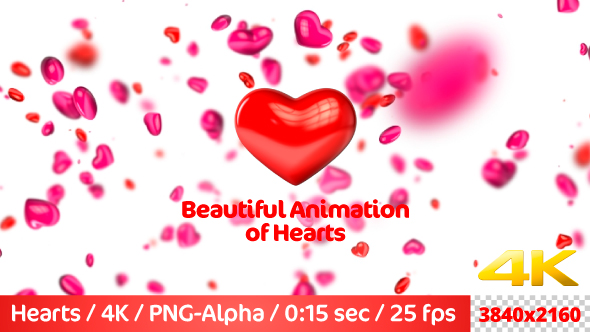 VideoHive Beautiful Flying 3D Hearts 21237375