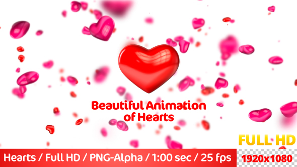 VideoHive Beautiful Flying 3D Hearts 21237419