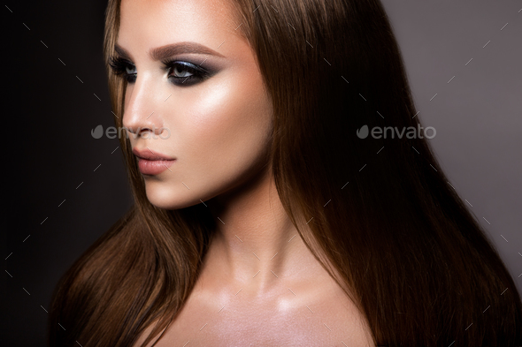 Make up. Glamour portrait of beautiful woman model with fresh makeup and romantic hairstyle. - Stock Photo - Images