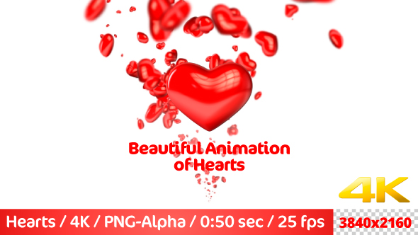 VideoHive Beautiful Flying 3D Hearts 21237514