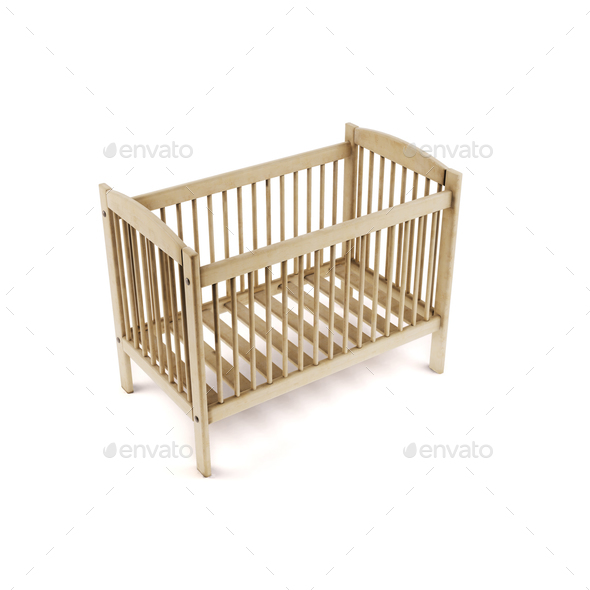 Wooden bed isolated on white background. 3d rendering. - Stock Photo - Images