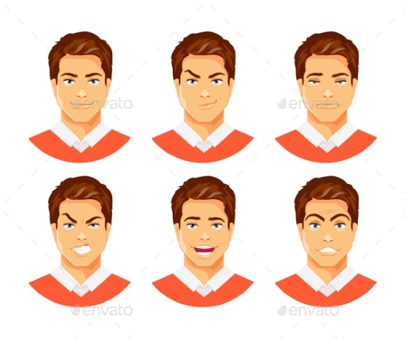 Man Emotions Vector - People Characters