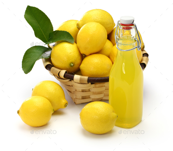 homemade limoncello, italian traditional lemon liqueur - Stock Photo - Images