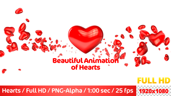 VideoHive Beautiful Flying 3D Hearts 21237704
