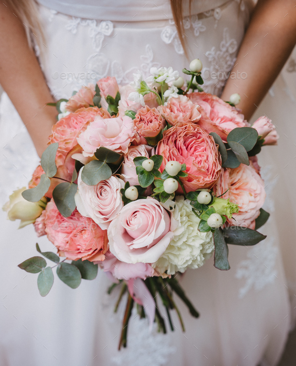 Bride with bouquet, closeup - Stock Photo - Images