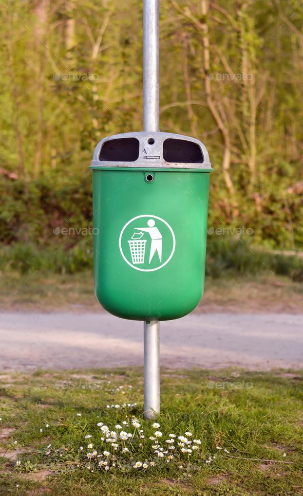 trash bin in park - Stock Photo - Images