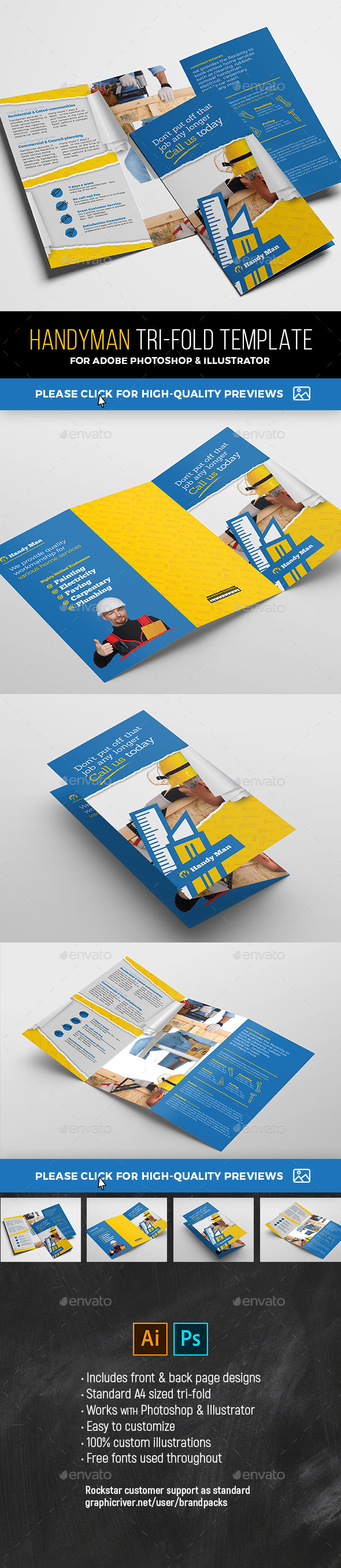 Handyman Tri-Fold Brochure Template - Commerce Flyers