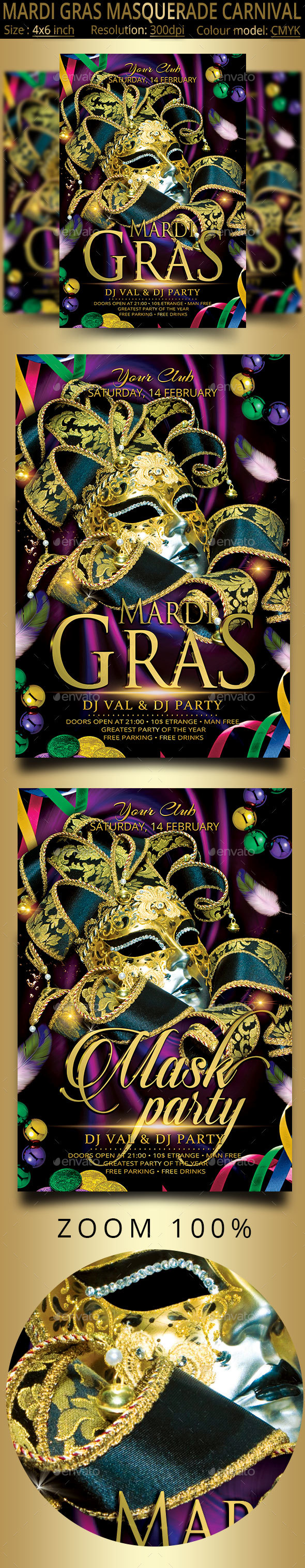 Mardi Gras Masquerade Carnival Party Flyer - Clubs & Parties Events