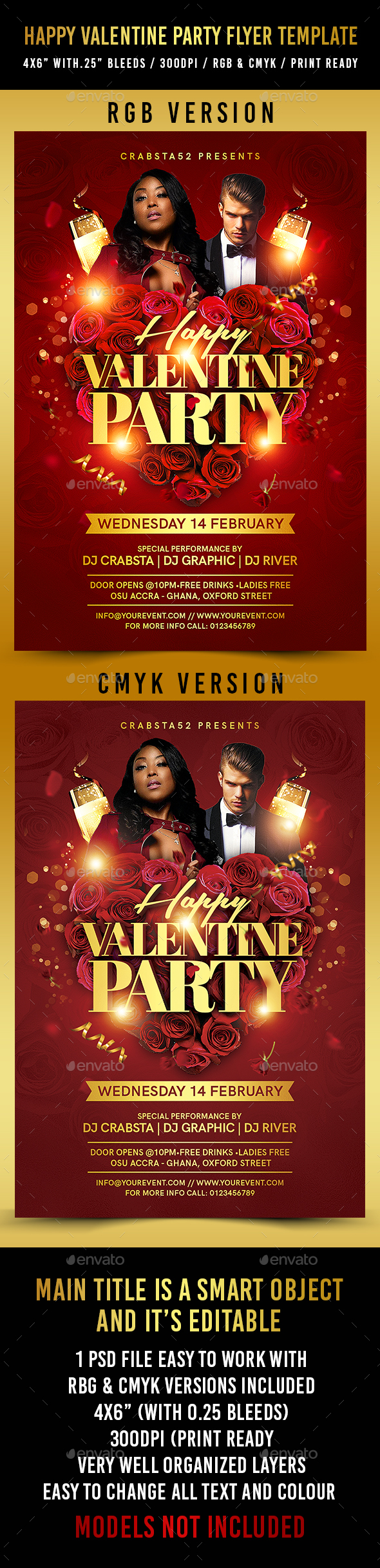 Happy Valentine Party Flyer Template - Flyers Print Templates