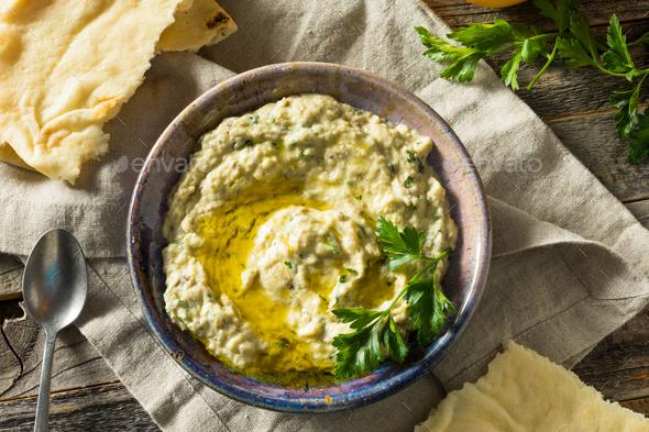 Savory Homemade Mediterranean Baba Ganoush - Stock Photo - Images