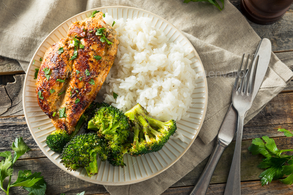 Healthy Homemade Chicken Breast and Rice - Stock Photo - Images