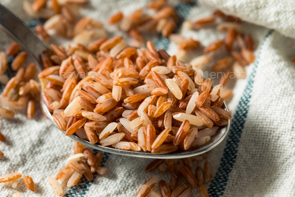 Raw Organic Red Rice - Stock Photo - Images