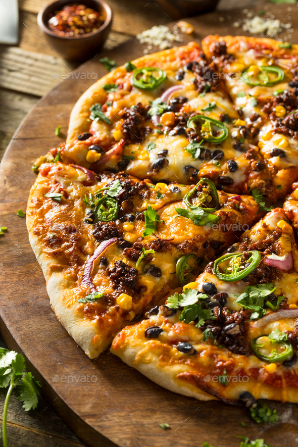 Homemade Spicy Mexican Taco PIzza - Stock Photo - Images