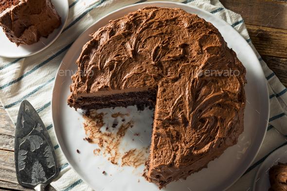 Sweet Homemade Dark Chocolate Layer Cake - Stock Photo - Images