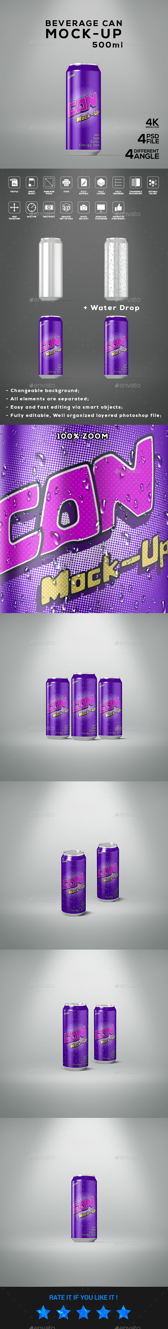 Beverage Can 500ml Mock-Up - Food and Drink Packaging