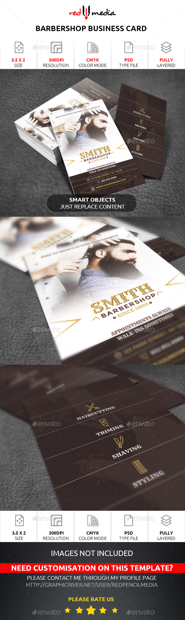 Barbershop Business Card - Business Cards Print Templates
