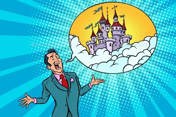 Confident Businessman Offers a Fabulous Castle - Buildings Objects