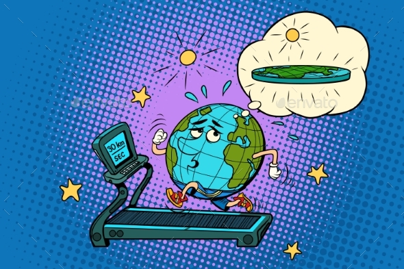 Sad Fat Earth on the Treadmill - Sports/Activity Conceptual