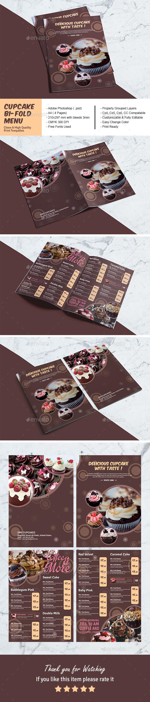 Cupcake Bi-Fold Menu Template - Food Menus Print Templates