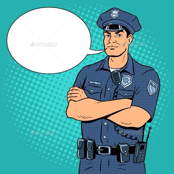 Policeman Pop Art Vector Illustration - Miscellaneous Vectors