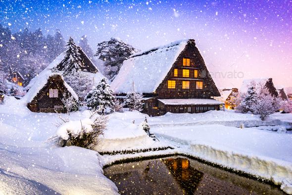 Shirakawago Village in Winter - Stock Photo - Images