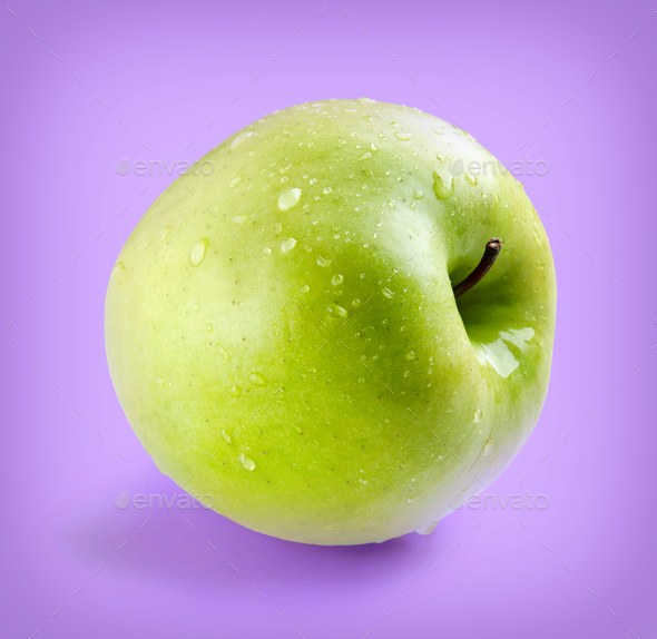 Wet green whole apple - Stock Photo - Images