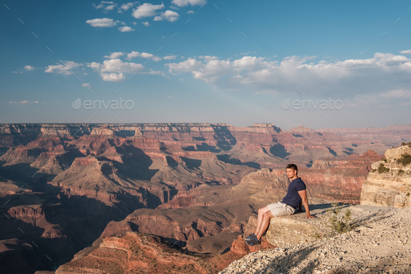 Tourist at Grand Canyon - Stock Photo - Images
