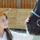 of Young Girl with Happy Facial Expressions Caressing Horse's Nose - VideoHive Item for Sale