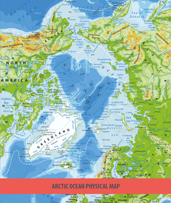 Arctic Ocean Physical Map - Travel Conceptual