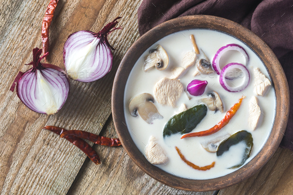 Bowl of thai tom kha kai soup - Stock Photo - Images