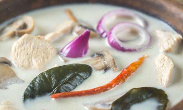 Bowl of thai tom kha kai soup - Stock Photo - Images