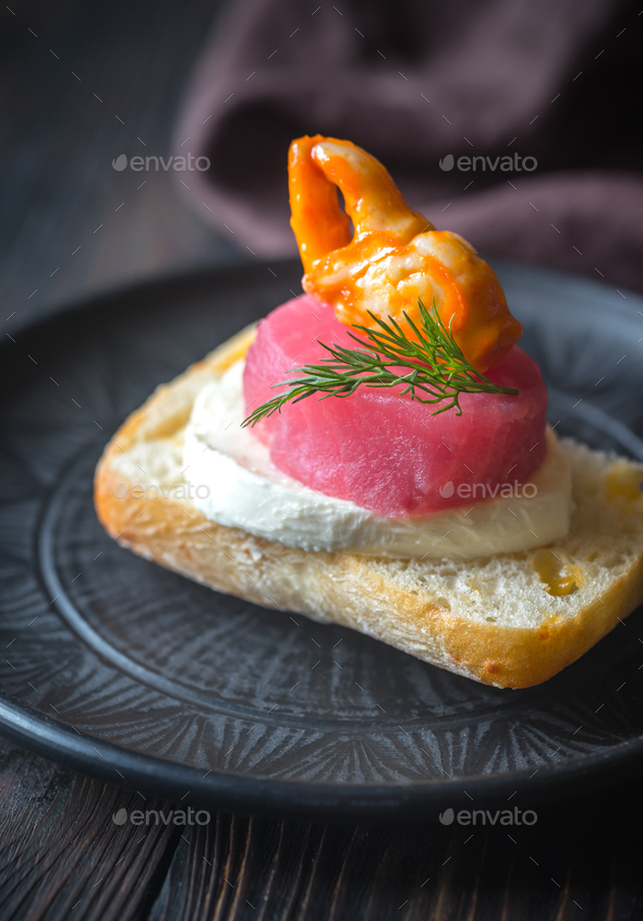 Sandwich with tuna and mozzarella - Stock Photo - Images