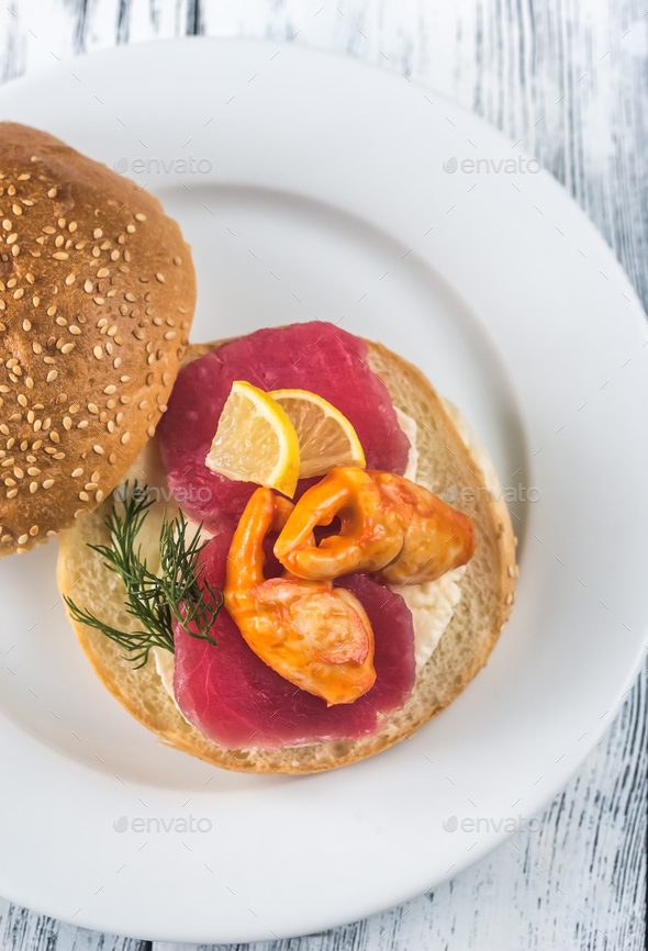 Sandwich with tuna, crab claw and mozzarella - Stock Photo - Images