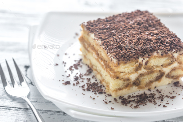 Tiramisu with chocolate topping - Stock Photo - Images