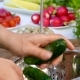 Hands Wash the Cucumbers in a Sieve. - VideoHive Item for Sale