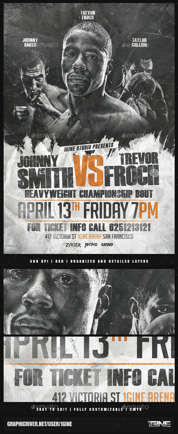 Fight Night Flyer Template - Sports Events